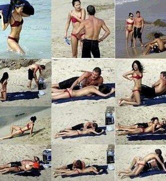 其实当天是章子怡和艾维-尼沃约好来到海滩晒太阳的,而且两个人在